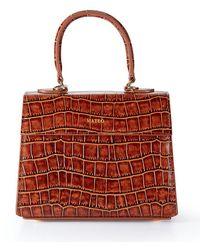 Mateo Cognac Embossed Croc Elizabeth Bag - Red