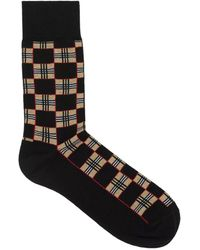 Burberry Black Checkered Archive Print Socks