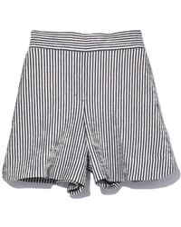 Dorothee Schumacher Textured Stripe Shorts In Navy/white - Blue