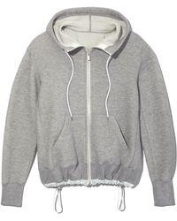 Sacai - Light Grey Hooded Zip Front Sweatshirt - Lyst