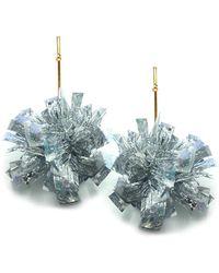 """Tuleste - 4"""" Silver Lurex Pom Pom Earrings - Lyst"""
