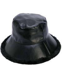 Charlotte Simone Billie Faux Fur Leather Bucket Hat - Black