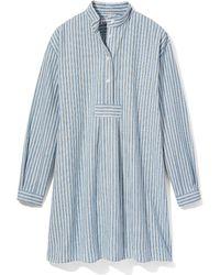 The Sleep Shirt Short Sleep Shirt Sapporo Cotton Linen Stripe - Blue