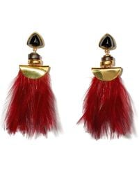 Lizzie Fortunato - Burgundy Feather And Fringe Parrot Earrings - Lyst