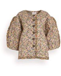 Kika Vargas Tiera Jacket In Nude Flower Print - Natural