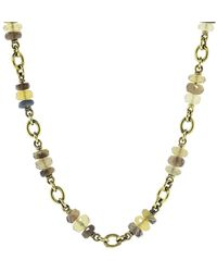 Sylva & Cie Honey Opal Rondelle Bead Necklace - Metallic
