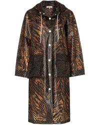 Ganni Tiger Print Raincoat - Brown