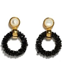 Lizzie Fortunato - Brancusi 18k Goldplated, Glass & Mother-of-pearl Beaded Hoops - Lyst