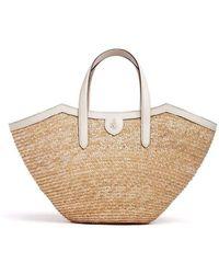 Mark Cross Madeline Straw & Leather Basket Bag - Natural