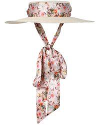 Gigi Burris Millinery Floral Print Straw Boater Hat - Multicolor