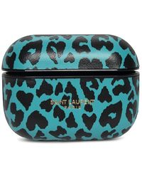 Saint Laurent Leopard Print Airpods Pro Case, Aqua And Black - Blue