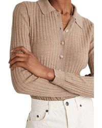 Loulou Studio Wool Cashmere Button Up Polo - Natural