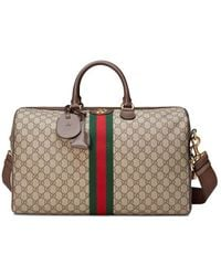 10583390812 Lyst - Gucci Green Canvas Flora Snake Duffle Bag in Green