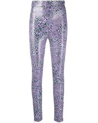 Versace - Purple Leopard-print Leggings - Lyst