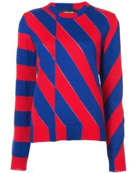 Calvin Klein - Red/blue Asymmetric Striped Sweater - Lyst