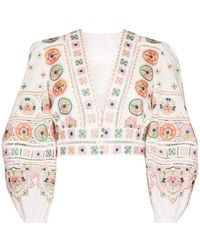Zimmermann Brighton Embroidered Cropped Top - White