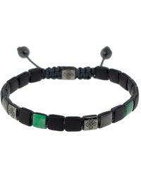 Shamballa Jewels Emerald Onyx Lock Bracelet - Black