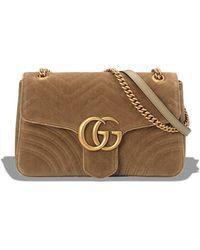 Gucci - Taupe GG Marmont Velvet Medium Shoulder Bag - Lyst