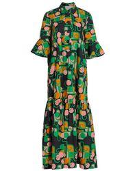La DoubleJ Artemis Deco Maxi Dress - Green