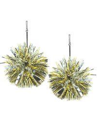 "Tuleste - 4"" Gold And Silver Lurex Pom Pom Earrings - Lyst"