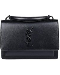 00c9da02f0 Lyst - Saint Laurent Ysl Crackled Patent Leather Bucket Bag in Black