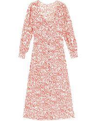 eca1333c30 Lyst - Ganni Silk Linen Dress In Egret in White