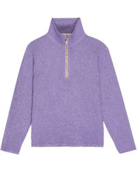 DONNI. The Waffle 1/2 Zip Pullover - Purple