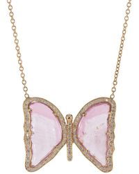 Jacquie Aiche Medium Pink Tourmaline And Diamond Butterfly Necklace