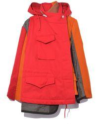 Sacai - Melton Wool Nylon Cotton Hoodie Coat In Red/orange - Lyst