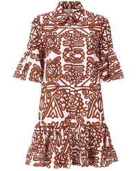 LaDoubleJ Choux Aztec Short Sleeve Button Front Dress - Red