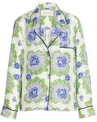 Rodarte Floral Printed Silk Twill Pajama Top - Green