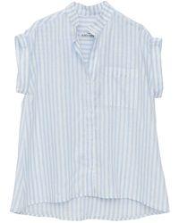 The Sleep Shirt Cuffed Sleeve Top Pale Blue Linen Stripe