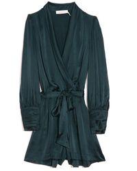Zimmermann Silk Tie Playsuit In Moss - Green