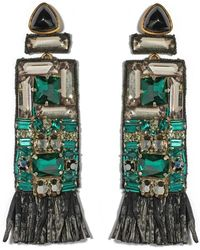 Lizzie Fortunato - Black Emerald City Crystal Earrings - Lyst