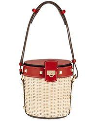 Ferragamo - Gancini Wicker Bucket Bag - Lyst