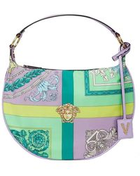 Versace Mixed Print Hobo Bag - Blue