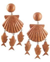 Rebecca de Ravenel - Brown Delphine Wood Charm Drop Earrings - Lyst
