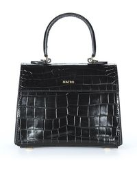 Mateo Black Embossed Croc Elizabeth Bag