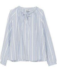 The Sleep Shirt Gathered Neck Top Ombre Seersucker - Blue