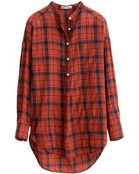 Alex Mill Crinkle Plaid Popover Tunic In Red/navy