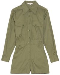 Tibi Featherweight Twill Cargo Jumpsuit In Olive - Green