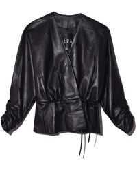 VEDA - Kelly Leather Blouse In Black - Lyst