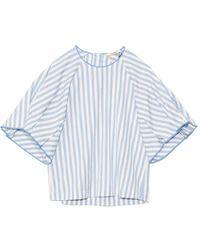 ODEEH Pleated Sleeve Top In Sky Stripe - Blue