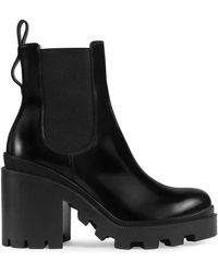Gucci - Leather Ankle Boot With Belt - Lyst