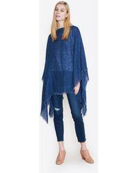 Destin Linen Jeans Poncho - Blue
