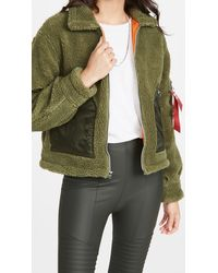 Alpha Industries Cropped Sherpa Utility Jacket - Green