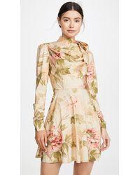 Zimmermann Espionage Silk Cowl Mini Dress - Natural