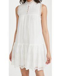 Rebecca Taylor Sleeveless Geo Embroidered Dress - White
