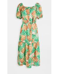FARM Rio Pineapple Garden Linen Dress - Green