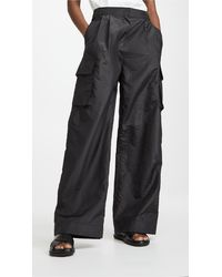 Tibi Crispy Nylon Pleated Cargo Pant - Black